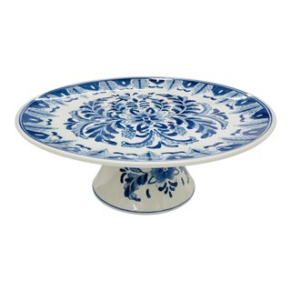 Vintage Hand Painted Blue & White Porcelain Cake Stand For Sale