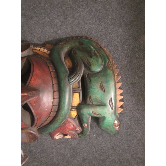 Vintage Tiki Mask Sculpture For Sale - Image 5 of 10