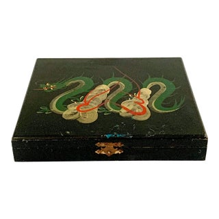Vintage Asian Lacquer Box Dragon Hand Painted For Sale