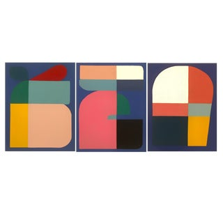 2019 Brooks Burns Abstract Geometric Triptych - Set of 3 For Sale