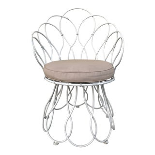 1960s Vintage White Metal Indoor& Outdoor Chair For Sale