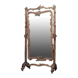 French Art Nouveau Stripped Pine Carved Cheval Mirror For Sale