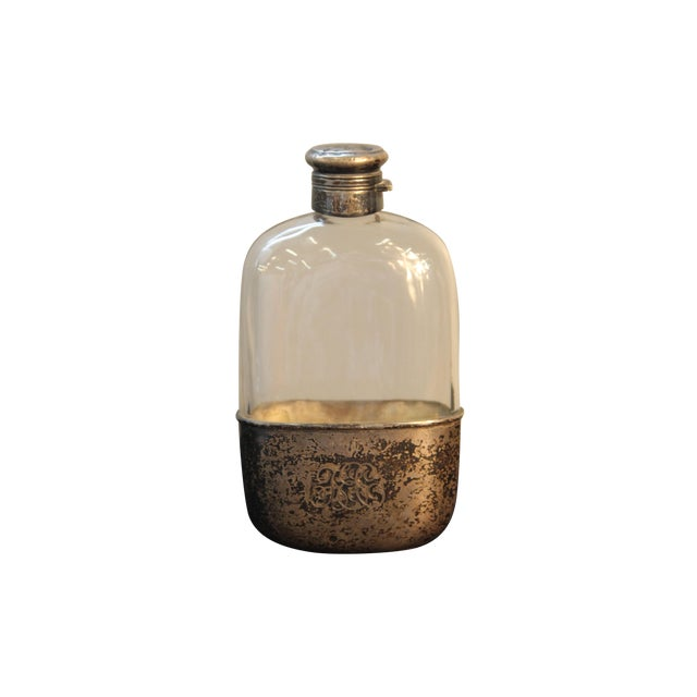 Antique Sterling Silver and Glass Pint Flask - Image 1 of 7