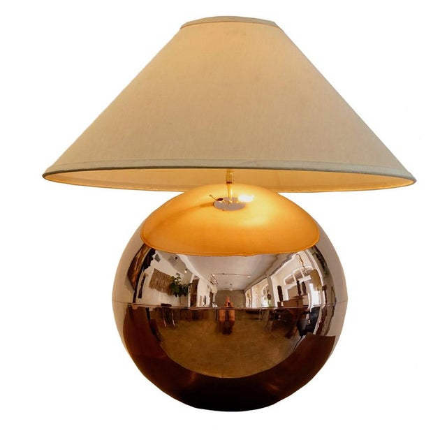 Copper 1970s Karl Springer Copper Orb Table Lamp For Sale - Image 7 of 7