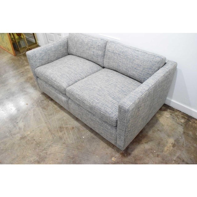 Newly upholstered with down cushions a Charles Pfister for Knoll settee in Pollack woven upholstery.