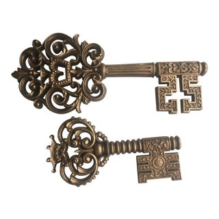 Vintage Burwood Products Skeleton Key Wall Decor - a Pair For Sale