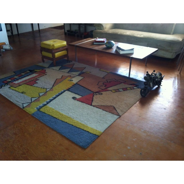 "Abstract Vintage Mid-Century Abstract Area Rug - 7'6""x5'5"" For Sale - Image 3 of 8"