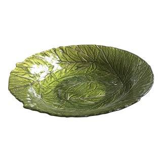 Vintage Raised Etched Large Display Glass Bowl For Sale