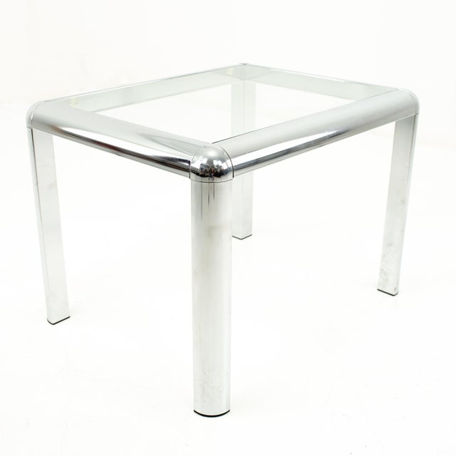 Milo Baughman Style Mid Century Chrome and Glass Side End Table For Sale In Chicago - Image 6 of 10