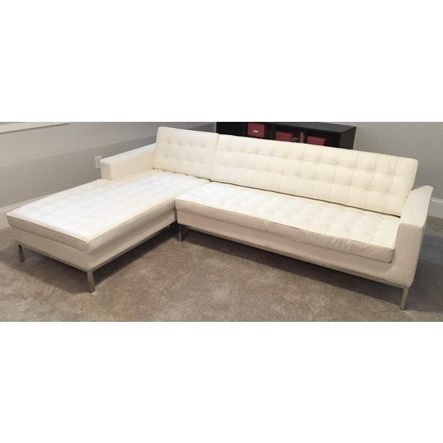 Kardiel Warm White Leather Knoll-Style Sectional - Image 2 of 6
