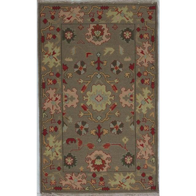 Green Soumak Design Hand Woven Wool Rug - 3′ × 5′ - Image 5 of 5