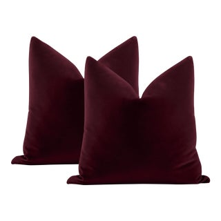 "22"" Merlot Italian Velvet Pillows - a Pair For Sale"