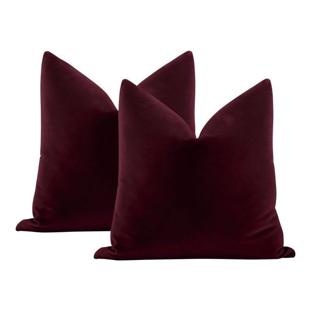 """22"""" Merlot Italian Velvet Pillows - a Pair For Sale"""