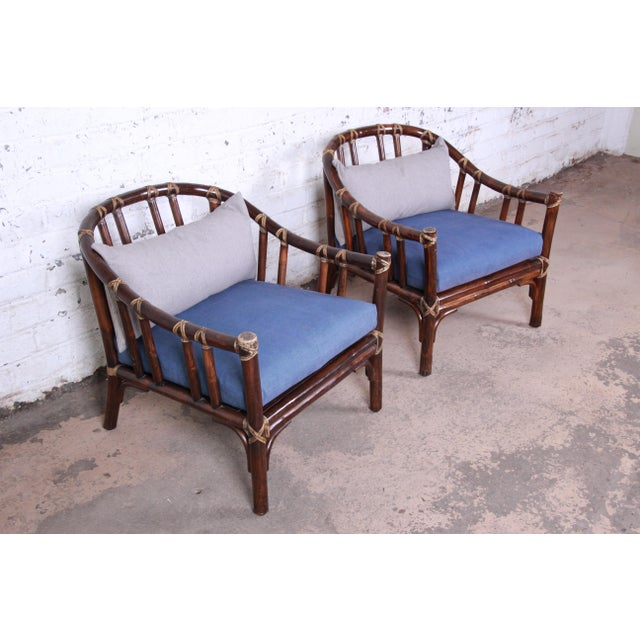 McGuire McGuire Hollywood Regency Mid-Century Modern Bent Rattan Lounge Chairs - a Pair For Sale - Image 4 of 13