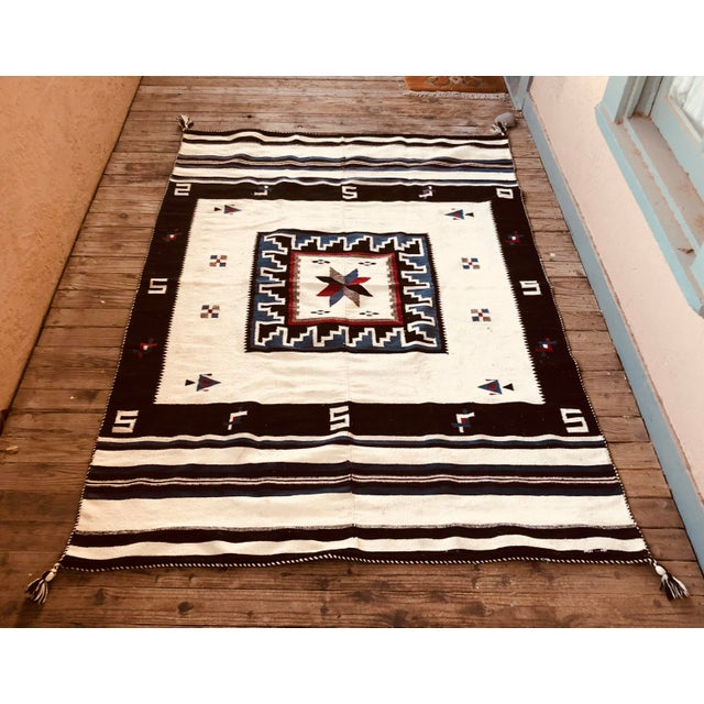 Rustic 1947 Vintage Mexican Vallero Star Blanket For Sale - Image 3 of 3