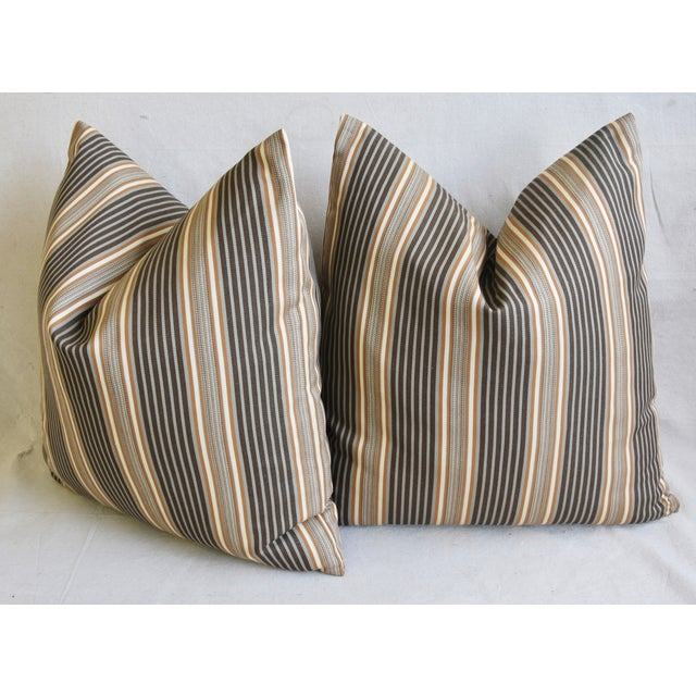 "Yellow French Striped Ticking Feather/Down Pillows 24"" Square - Pair For Sale - Image 8 of 11"