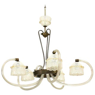 "1930s Italian ""Reticello"" Murano Chandelier Attrib. To Barovier E Toso For Sale"
