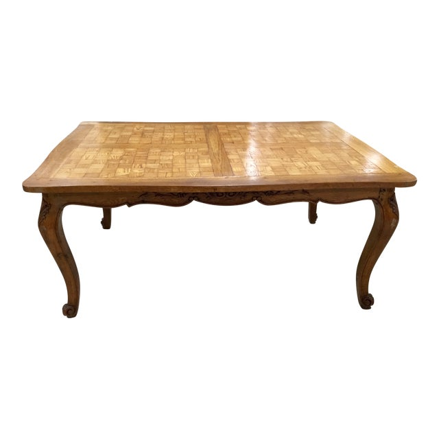 French Parquetry Top Dining TBle For Sale