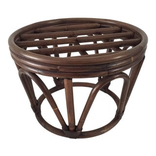 "Rattan Stool C. 1970' No Cushion Round 18""Dia X 13""h Excellent For Sale"
