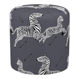 Scalamandre Drum Ottoman in Slate Zebra For Sale