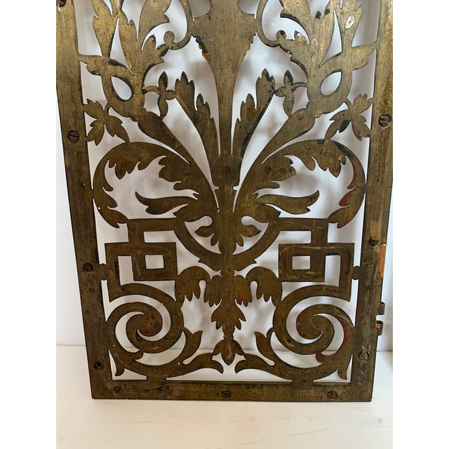 Brass Vintage Pierced and Etched Brass Panels -A Pair For Sale - Image 8 of 13