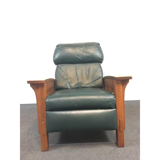 Mission Mission Style Black Leather Upholstered Wood Recliner For Sale - Image 3 of 6