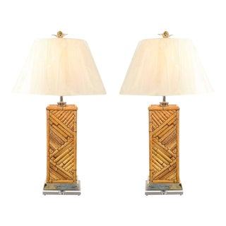 Dramatic Pair of Handmade Vintage Bamboo Lamps with Nickel and Lucite Accents For Sale