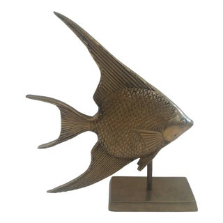 1960s Vintage Brass Fish on Brass Stand For Sale