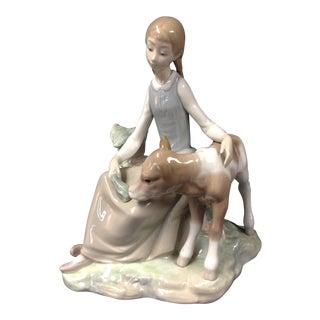 "Lladro Figurine ""Girl Feeding Calf"" #1288"