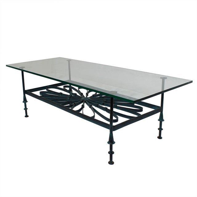 Decorator Wrought Iron & Glass Coffee Table - Image 2 of 7