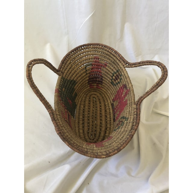 Textile Vintage Handwoven Oval Basket With Handles For Sale - Image 7 of 8