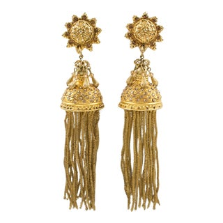 Claude Montana for Claire Deve Gilded Shoulder Duster Statement Clip Earrings For Sale