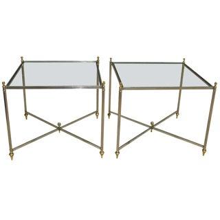 Italian Jansen Style Steel Brass Side End Tables - a Pair