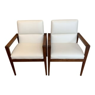 Jens Risom Walnut & Leather Armchairs - a Pair For Sale