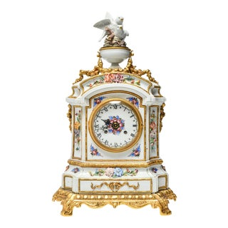 French Carpe Hand Painted Porcelain Mantel Clock For Sale