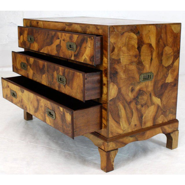 1970s 1970s Mid-Century Modern Italian Burl Olive Wood Patch Parquetry 3-Drawer Bachelor Chest For Sale - Image 5 of 11