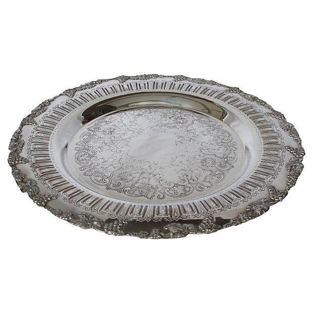 English Silver-Plate Grapevine Edge Tray - Image 1 of 3