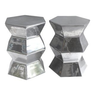 Aluminum Zig-Zag Column Side Tables - a Pair For Sale