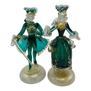 Venetian Emerald Green and Gold Glass Glass Figurines - a Pair For Sale