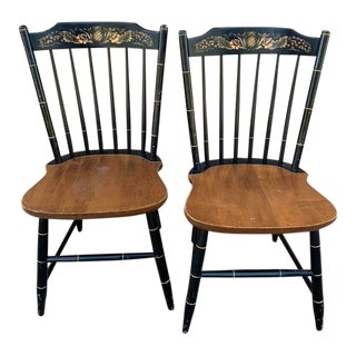 1940s Vintage Hitchcock Country Side Chairs- A Pair For Sale