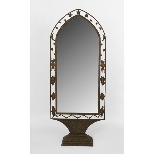 French Art Deco Wrought Iron Cheval Mirror For Sale In New York - Image 6 of 6