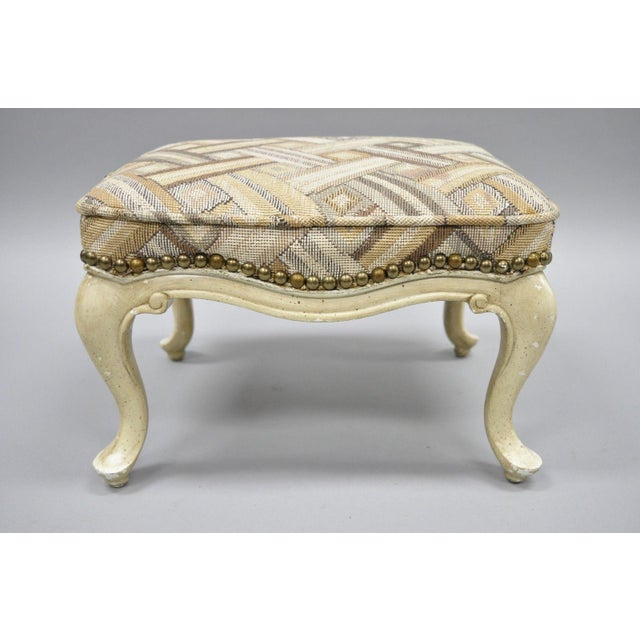 Item: Antique Petite French Provincial Louis XV Style Small Footstool Details: Distessed cream painted finish, nailhead...