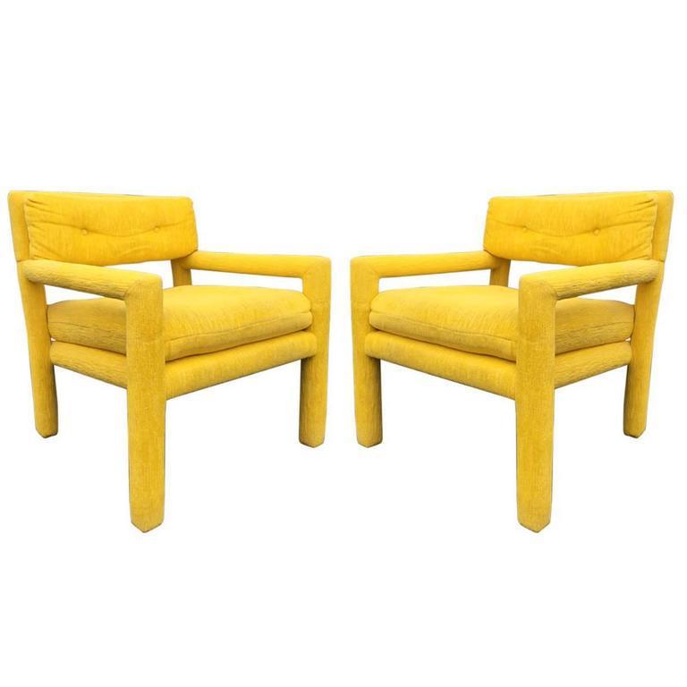 milo baughman furniture. Pair Of Vintage Milo Baughman Style Parsons Chairs - Image 8 Furniture
