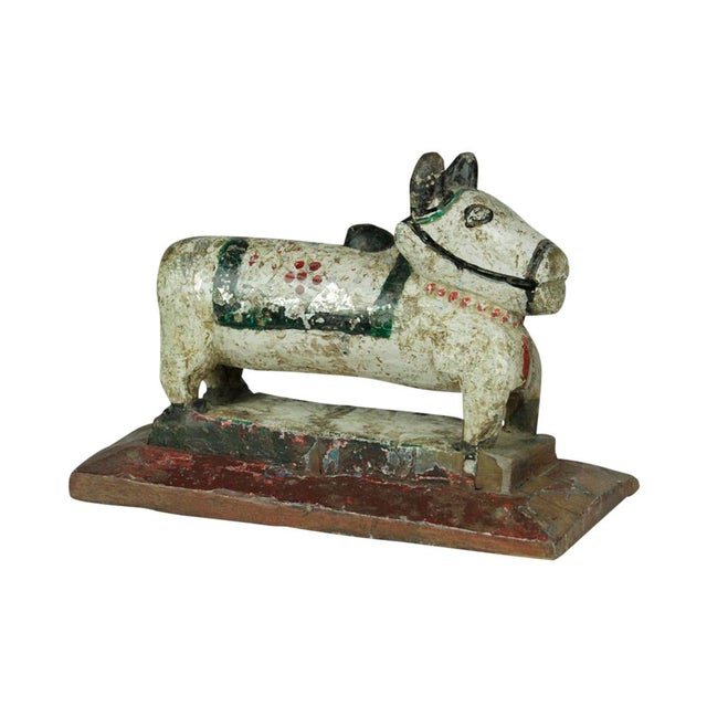 Boho Chic Antique White Hand Carved Nandi For Sale - Image 3 of 4