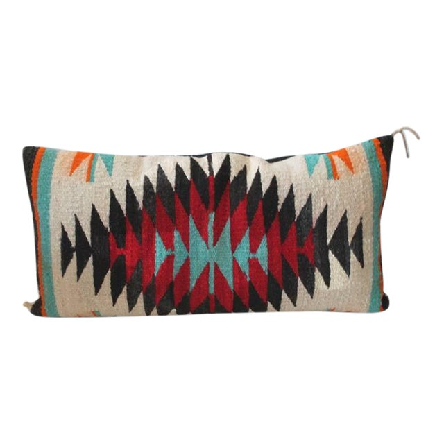 Fantastic Navajo Indian Weaving Bolster Pillow For Sale