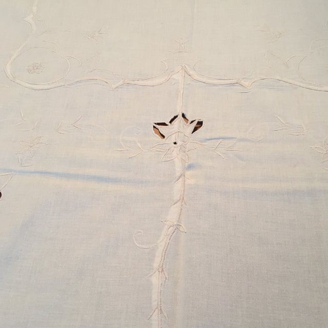 Vintage Ecru Cotton/Linen Cutwork Table Cloth and Napkins For Sale - Image 9 of 13