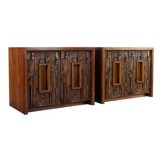 Lane Brutalist End Tables in the Manner of Paul Evans - a Set of 2 For Sale
