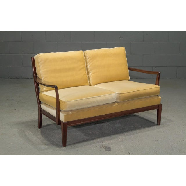Danish Modern Loveseat Settee With Down Cushions For Sale - Image 11 of 11