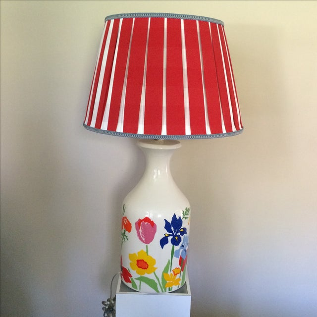 Mid-Century Floral Lamp With Red Custom Shade - Image 3 of 9