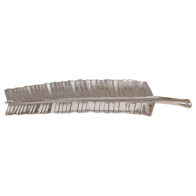 1950s 1950s Bruce Fox Aluminum Banana Leaf Tray For Sale - Image 5 of 5